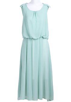 #SheInside Green Sleeveless Epaulet Bandeau Chiffon Dress - Sheinside.com