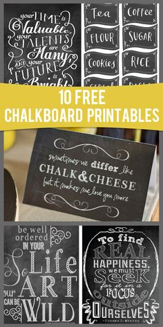 10 free chalkboard printables | How Does She??