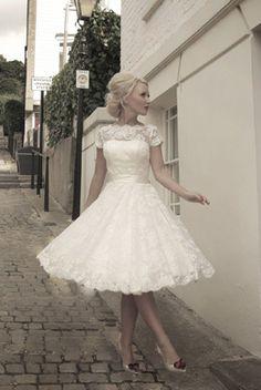 Tea length wedding dress.