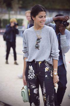 Printed pants + grey sweater.