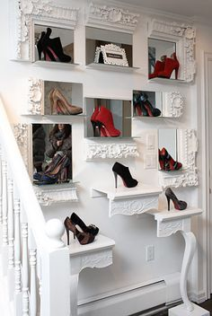 Shoe Display boutique closets, boutique shoe display, ornate frames, consignment store shoe display, decorate shelf frames, hall tables, framed mirrors diy, boutique store, decor store shoes