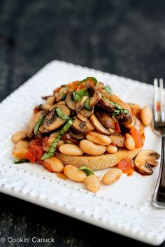 A quick & healthy dinner! Mushroom, Tomato & Basil Ragout on English Muffin | cookincanuck.com #vegetarian #vegan #MeatlessMonday