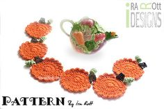 Free Halloween Thanksgiving Pumpkin Coasters Crochet Pattern www.irarott.com