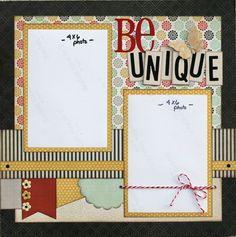 Premade Scrapbook Page 12 x 12  Layout  Be Unique by designstudioL, $11.49