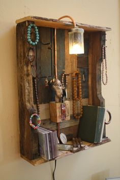 jewelry display organizer made of upcycled pallet wood