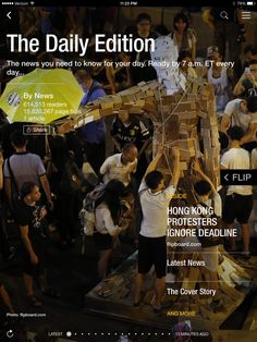 Hong Kong protesters ignore deadline, future of robots and rise and fall of Michael Phelps. Check out today's edition: flip.it/dailyedition