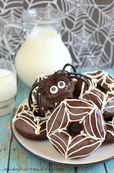 Chocolate Pumpkin Spider Donuts - Inside BruCrew Life