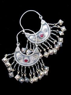 Tribal Jewelry - Big Vintage Kashmiri Crescent Dangle Earrings