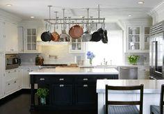 white kitchen cabinets, black cabinet, pot racks, black kitchens, potrack