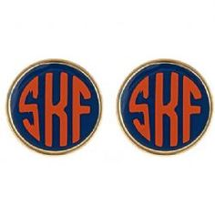 navy and orange monogram studs
