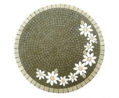 Mosaico - tampo de mesa margaridas