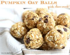 Stilettos and Diapers: Pumpkin Balls. Quick clean eating snack.add a bit of peanut butter to make them stick together more - otherwise worked perfectly