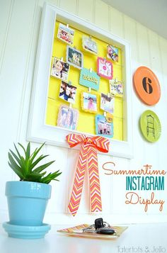Summertime Instagram Display Wall by @Tatertots and Jello .com #MichaelsFabric