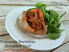 A Busy Mom's Slow Cooker Adventures: Homemade Barbecue Shredded Beef over Sweet Potatoes