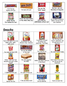 many cute sayings for all sorts of snacks and  candy bars and things. Love this!