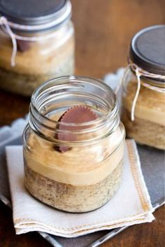 banana peanut butter cake in a mason jar