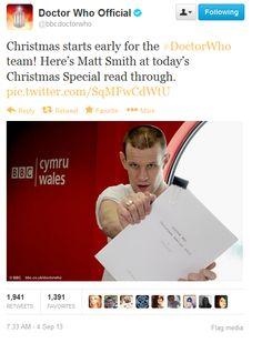 Matt Smith at the Christmas Special read through.