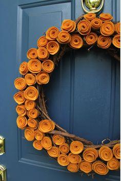 craft, orang, blue doors, door colors, front doors, fall wreaths, autumn wreaths, mustard yellow, felt flowers