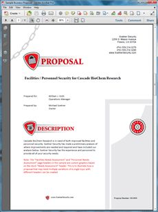 Security Services Proposal - Create your own custom proposal using the full version of this completed sample as a guide with any Proposal Pack. Hundreds of visual designs to pick from or brand with your own logo and colors. Available only from ProposalKit.com (come over, see this sample and Like our Facebook page to get a 20% discount)