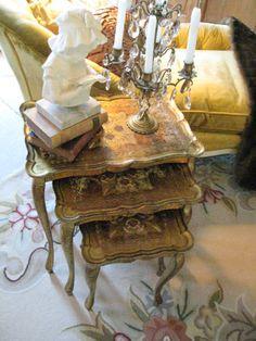 Vintage Italian Florentine tole tables.