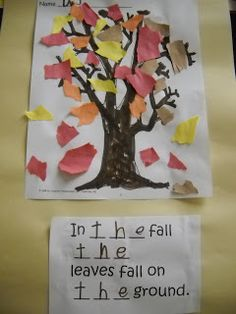 Mrs. Wood's Kindergarten Class: fall trees with sight word