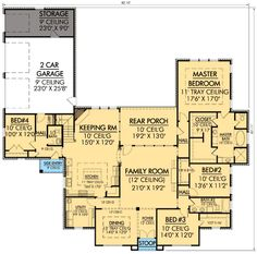 Plan W56348SM: Southern, Corner Lot, French Country, European House Plans & Home Designs
