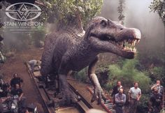 The Spinosaurus animatronic puppet on set, ready for its close-up.