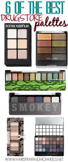Best Drugstore Palettes via www.hairsprayandhighheels.com #drugstorebeauty #beautyproducts #drugstore #makeup #eyeshadow