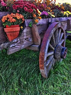 old wagon with flowers...