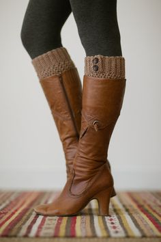 Knitted Boot Cuffs, Faux Leg Warmers, or Boot Toppers with Chunky Knit and Wooden Working Buttons for Women and Teens in Dark Caramel
