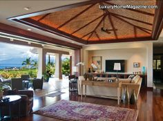Panoramic ocean views from this luxury living room in Hawaii! #homes #interior #design #decor #decorating #ideas #island
