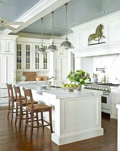 dream, color, blue, hous, white cabinets, painted ceilings, traditional homes, island, white kitchens