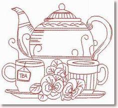 Tea with Mum Redwork