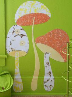 wall art, idea, craft, fabric wall, wall decals, kid rooms, wall stickers, diy, mushrooms
