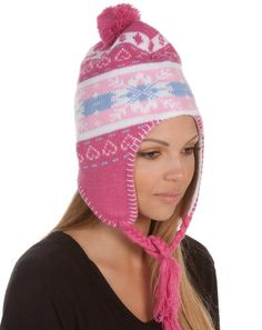 Sakkas Womens Pom Heart Snowflake Fully Lined Knit Winter Hat / Earflap Beanie - List price: $21.99 Price: $10.99