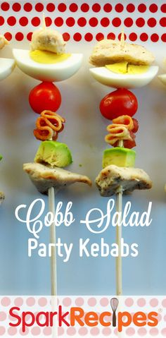 I love bringing these Cobb salad kabobs to potlucks and parties--always a huge hit and so pretty! | via @SparkPeople #picnic #cookout #kabobs #salad #party