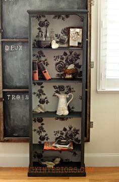 Dumpster Bookshelf Upcycle. Cece Caldwell's Vermont Slate and custom fabric back.  REDOUXINTERIORS.COM  FACEBOOK: REDOUX