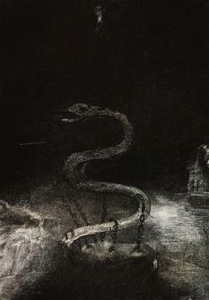 magictransistor:  Odilon Redon.Apocalypse de Saint-Jean.Bound for One Thousand Years. 1899.