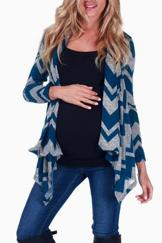 Grey Teal Chevron Printed Maternity Cardigan #maternity #fashion
