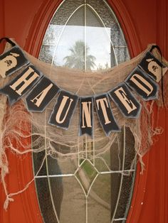 Haunted Halloween Banner Decoration by LetsWearDresses on Etsy