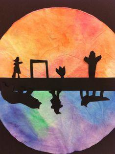 Very interesting art lessons - Alexis Anne: Elementary Lessons  America/Australia art lesson, sunset