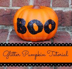 Glitter Pumpkin Tutorial Using a Dollar Tree Pumpkin and Elmer's Glue #halloween #crafts #diy #glitter
