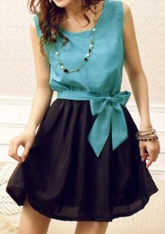chiffon dress with a sweet bow