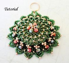 PDF for beadwoven pendant beading tutorial - beadweaving beading pattern beaded seed bead jewelry - NOTRE DAME