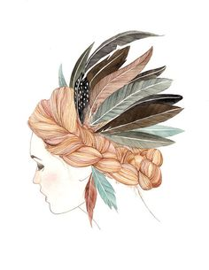 {girl with feathers}