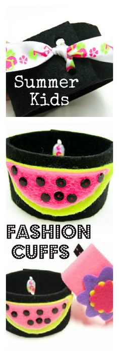 "Look at this adorable project to do with your kids this summer! Fashion cuffs! You could create these in so many colors and styles! I bet the boys would love ""super hero cuffs""... click the link for full tutorial  http://bowdabrablog.com/2012/06/20/kids-craft-summer-fashions-cuffs/"
