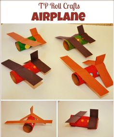Toilet paper rolls upcycled into toy planes. http://www.blogmemom.com/paper-roll-craft-airplane/