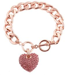Ladies Rose Gold Iced Out 3D Heart Ch... $2.95 #bestseller