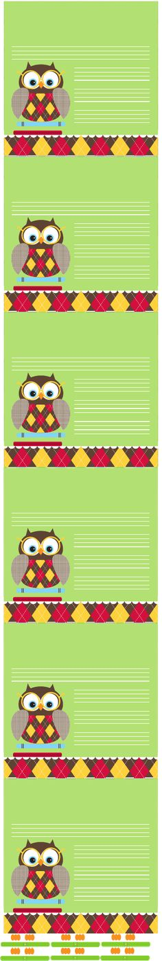 """Owl """"back to school"""" notes."""