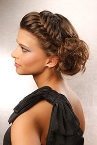 Love the braid across the top... Would probably do some sort of curl updo in the back! Prom :)